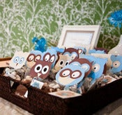 Image of printable Owl Favor Toppers- Baby Blue Baby Shower Collection