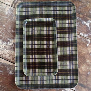 Image of Linen Tray: Green Plaid