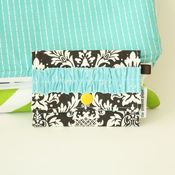 Image of tiny pouch - chocolate brown damask 