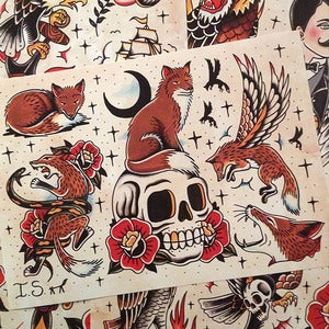 Image of Iain's 'Foxes & Stuff' tattoo flash sheet
