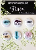"Image of Hello Words Flair - 6 x 1"" Flatback Buttons / Badges - Rourke's Rounds"