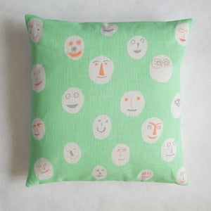 Image of Masks cushion - peppermint