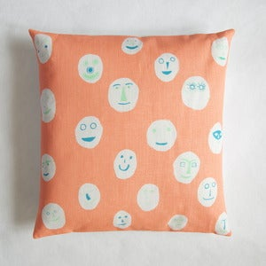 Image of Masks cushion - neon coral