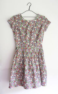 Image of Picnic Party Gingham Print Lucy Dress with cherrys and flowers all over