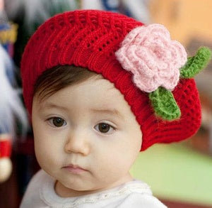 Image of Winter Beret with Flower Trim
