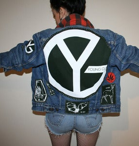 Image of SICK X YOUNG GUNS 'GREEN' denim jacket SMALL