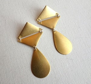 Image of Geometric Brass Earrings