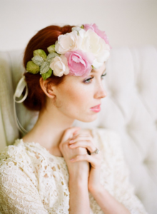 Image of Silk Habotai Bridal Halo in Pink Ivory and Green by Fine &amp; Fleurie