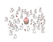 Image of PRINT: 8x10 Cupcake surrounded by Bunnies