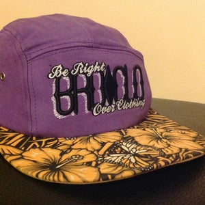 Image of BROCLO Floral 5 Panel Snapback (Purple)