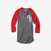 Image of Varsity 3/4 Sleeve Henley (Grey/Red)