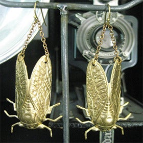 Image of Brass Cicada Earrings by Larissa 
