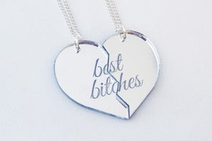 Image of Best Bitches Necklace Set - Silver