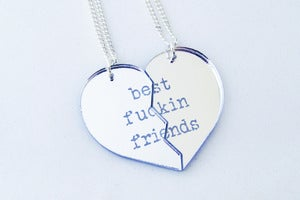 Image of BFF [Best Fuckin Friends] Necklace Set - Silver