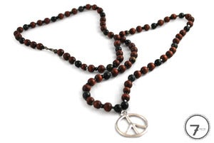 Image of Wooden Beaded Peace Necklace