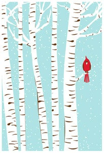 Image of Winter Cardinal Art Poster by Strawberryluna