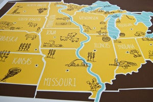 Image of American Atlas - Midwest Poster by Brainstorm