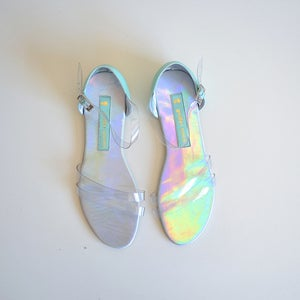 Image of Plastic and mint green leather sandals