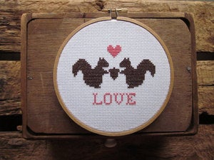 Image of Squirrelly Love Cross-Stitch Kit by Chez Sucre Chez