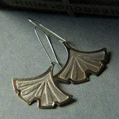 Image of Silver Gingko Earrings by Larissa Loden