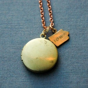 Image of Mother's Day Pre-Order: Iowa Vintage Locket Necklace by Larissa Loden