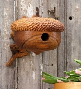 Image of Wood Acorn Birdhouse - Mother's Day Gift - Natural Birdhouse
