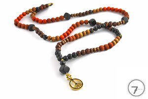 Image of Wood & Stone Beaded Peace Necklace