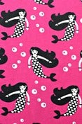 Image of Fuchsia Mermaids organic cotton jersey (by the half metre)