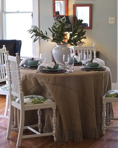 Image of Antiqued White Dining Chairs w/ Peter Dunham Fig Leaf Fabric