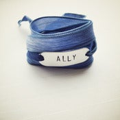 Image of Gay Rights Bracelet for The Ally Coalition - Silk & Metal Hand-Stamped Wrap Bracelet - Blue