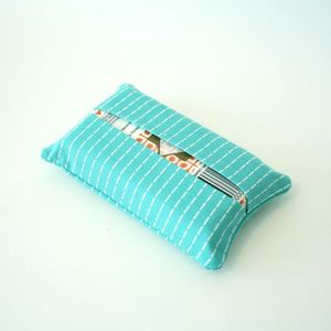 Image of travel tissue case - turquoise stitches