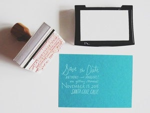 Image of Custom Hand lettered Save The Date Stamp
