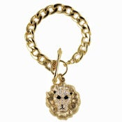 Image of Gold Crystal Lion Chain Bracelet