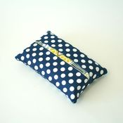 Image of travel tissue case - navy dots