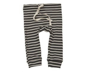 Image of Organic Cotton Striped Leggings - Charcoal/Natural Nautical Stripe