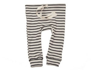 Image of Organic Cotton Striped Leggings - Natural/Charcoal Nautical Stripe