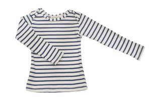 Image of Organic Cotton Nautical Tee - Natural/Blue Stripe