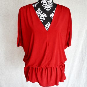 Image of Red Slouchy Peplum Top {Size L, runs big}