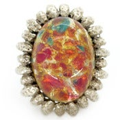 Image of Vintage Silver Pastel Opalescent Starburst Glass Oversized Cocktail Ring
