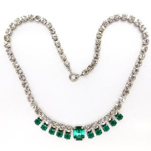Image of Vintage Art Deco Style Rhinestone Glass Paste Green White Sparkling Necklace