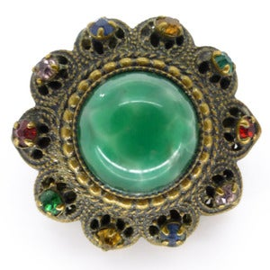 Image of Vintage Edwardian Small Marbled Green Glass Cabochon Gilt Lapel Pin Brooch