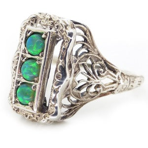 Image of Vintage Edwardian Style Green Fire Opal Glass Silver Cocktail Ring