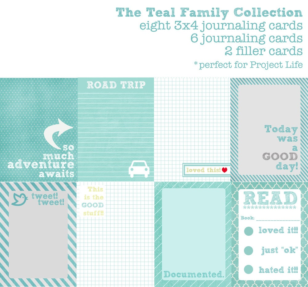 Image of Teal Family Journaling Cards