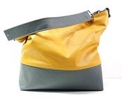 Color Block Leather Hobo - Gold and Gray