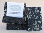 Image of Charcoal Confetti handmade soap with spearmint, lavender &amp; pine