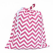 Image of Extra Large Laundry Bag for Dorm and Travel : Hot Pink and White Chevron