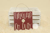 Image of Lifeguard on Duty - Red Beach Woode Sign - Photography Prop - NEW