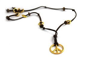 Image of Brown Leather Peace Neckalace