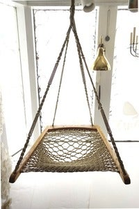 Image of Oak Macrame Woven Hanging Hammock Chair
