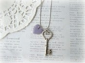 Image of Antique Silver Key with Purple Heart Necklace